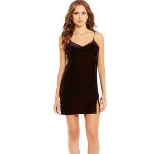 Gianni Bini deep plum velvet slip dress minimal XS